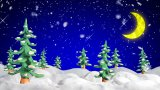 Winter scene with clay firtrees and snowfall loopable