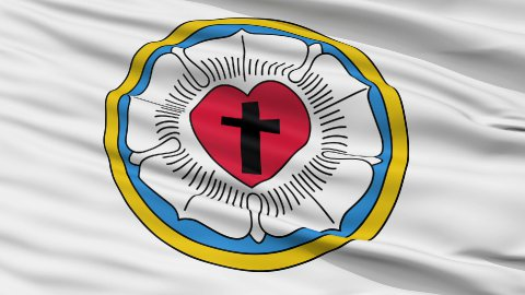 Lutheran Religious Close Up Waving Flag - editable clip, motion graphic, footage stock