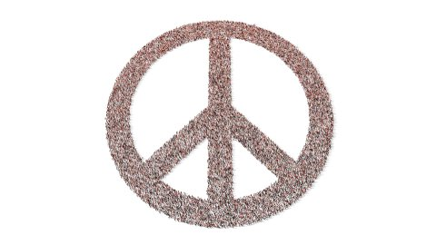 Crowd forms peace sign - stock footage