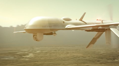 Military drone (UAV) seeking enemies. - stock footage