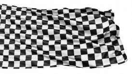 Realistic 3d seamless looping checkered flag waving in the wind. LOOP