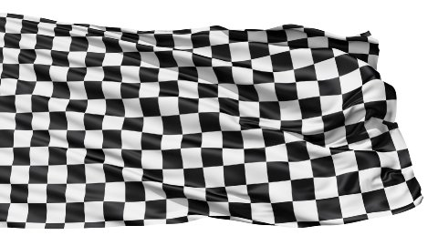 Realistic 3d seamless looping checkered flag waving in the wind. LOOP - stock footage