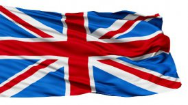Realistic 3d seamless looping Great Britain(English) flag waving in the wind. LOOP