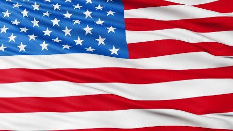 Realistic 3d seamless looping USA(United States) flag waving in the wind. LOOP - stock footage