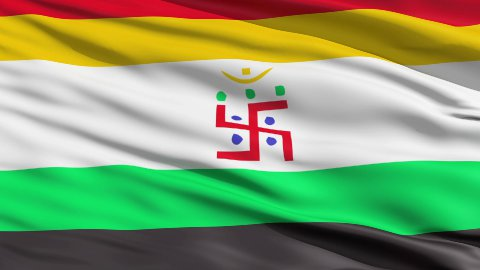 Holy Swastika On Jain Flag LOOP - stock footage