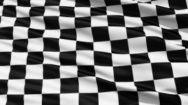 Fluttering Black And White Chequered Flag LOOP - editable clip, motion graphic, stock footage