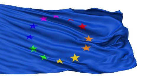 Realistic 3d seamless looping Europe flag waving in the wind. LOOP - stock footage