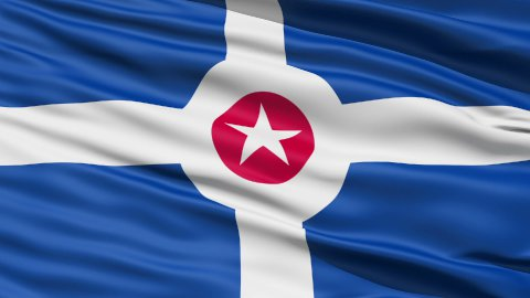 American State City Flag of Indianapolis LOOP - stock footage