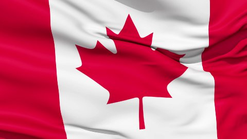 Realistic 3d seamless looping Canada flag waving in the wind. LOOP - stock footage