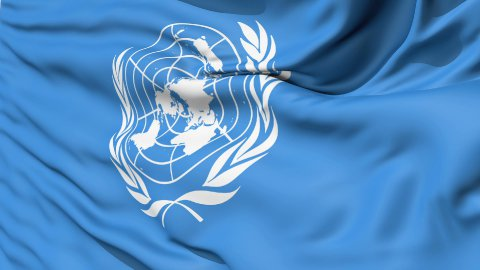 White United Nations Symbol On Blue Fabric LOOP - stock footage