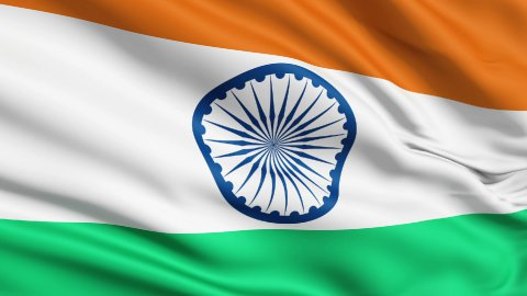 Realistic 3d seamless looping India flag waving in the wind. LOOP - stock footage