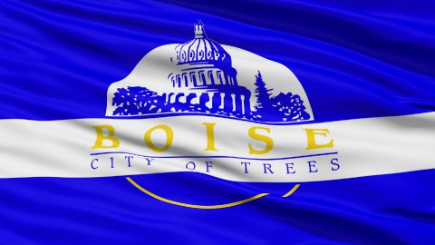 American State City Flag of Boise Idaho - stock footage