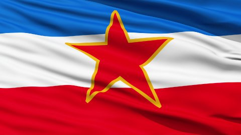 Flag of Socialist Federal Republic of Yugoslavia - stock footage