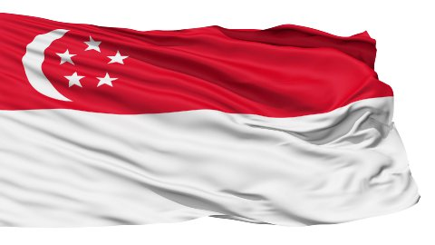 Realistic 3D detailed slow motion singapore flag in the wind - stock footage