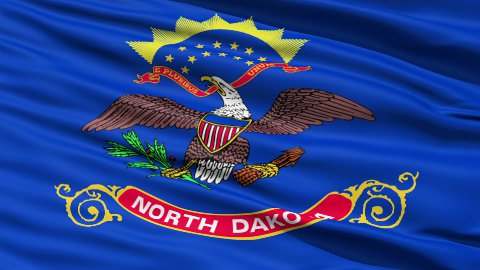 Waving Flag Of The US State of North Dakota - stock footage