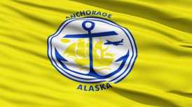 American State City Flag of Anchorage Alaska
