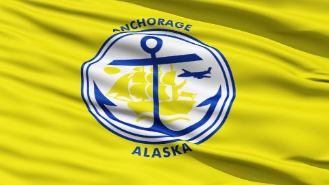 American State City Flag of Anchorage Alaska - stock footage