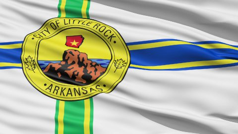 American State City Flag of Littlerock Arkansas - stock footage