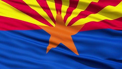 Waving Flag Of The US State of Arizona - stock footage