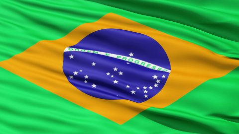 Realistic 3d seamless looping Brazil flag waving in the wind. - stock footage