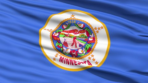Waving Flag Of The US State of Minnesota - stock footage