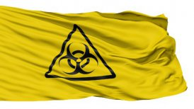 Yellow Biohazard Symbol Wavy Fabric