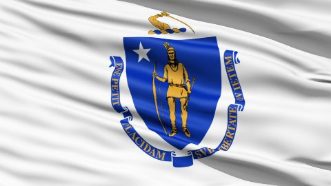 Flag Of The Commonwealth of Massachusetts - stock footage