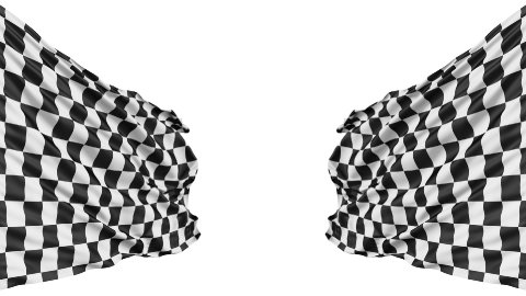 Realistic 3d seamless looping checkered flag waving in the wind. - stock footage