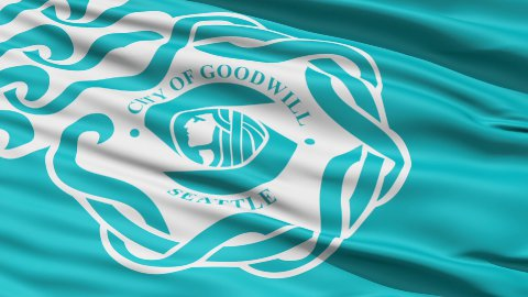 American State City Flag of Goodwill Seattle - stock footage