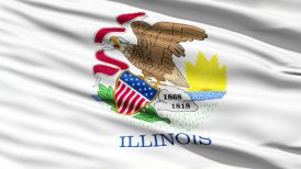 Waving Flag Of The US State of Illinois