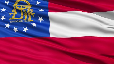 Waving Flag Of The US State of Georgia - stock footage