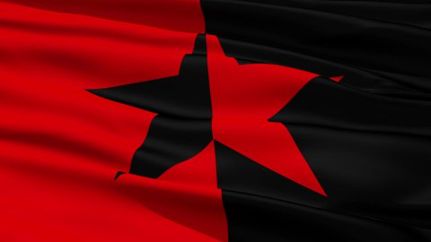 Red and Black Star Flag - stock footage
