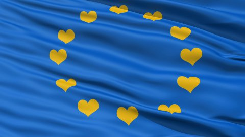 Realistic 3D detailed slow motion Europe love flag in the wind - stock footage