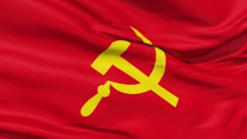 Realistic 3d seamless looping USSR flag waving in the wind. - motion graphic