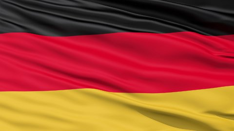 Realistic 3D detailed slow motion germany flag in the wind - stock footage