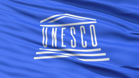 UNESCO Waving Flag - stock footage