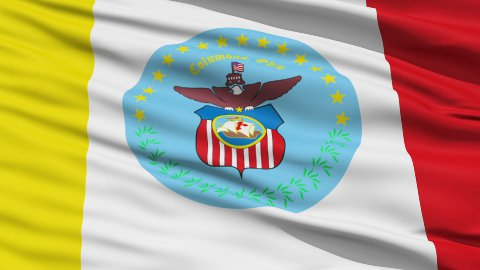 American State City Flag of Columbus - stock footage