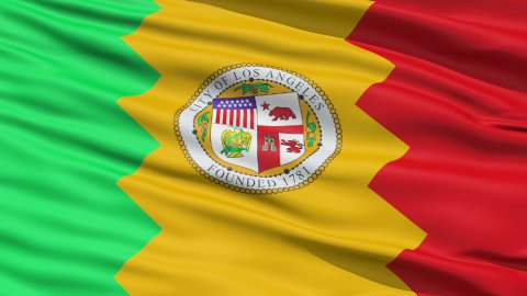 American State City Flag of LA Los Angeles - stock footage