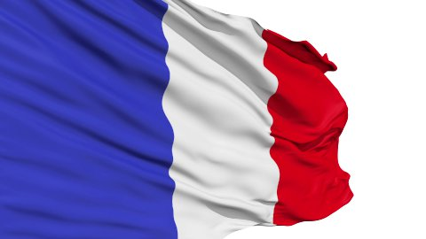 Realistic 3d seamless looping France flag waving in the wind. - stock footage