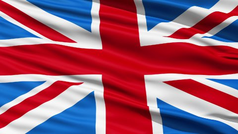 Realistic 3d seamless looping Great Britain(English) flag waving in the wind. - stock footage