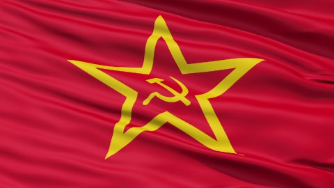Realistic 3D detailed slow motion Soviet Union flag in the wind - stock footage