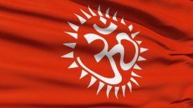 Flag With Hindu Aum - editable clip, motion graphic, stock footage
