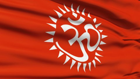 Flag With Hindu Aum - stock footage