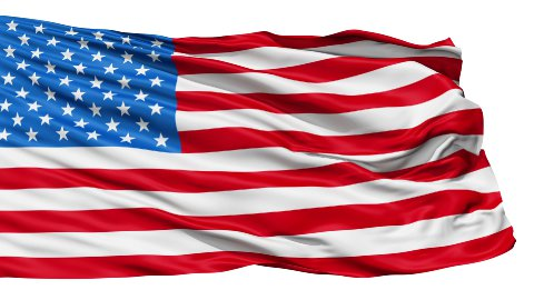 Realistic 3d seamless looping USA flag waving in the wind. - stock footage