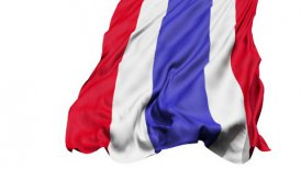 Realistic 3d seamless looping Thailand flag waving in the wind.