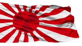Realistic 3D detailed slow motion japan radiation flag in the wind - editable clip, motion graphic, stock footage