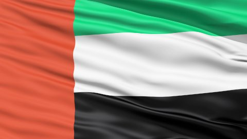Realistic 3D detailed slow motion United Arab Emirates flag in the wind - stock footage