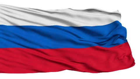 Realistic 3d seamless looping Russia flag waving in the wind. - stock footage