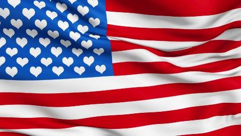 Realistic 3d seamless looping USA-love flag waving in the wind. - stock footage