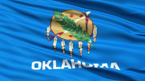 Waving Flag Of The US State of Oklahoma - stock footage